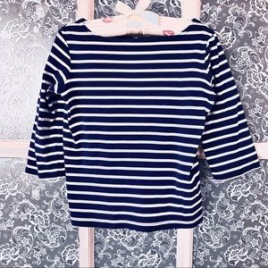Girl's Lands' End Blue White Striped Top